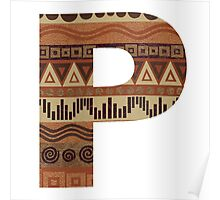 Letter P Leather Look Pattern Tribal Ethnic Monogram Initial Poster