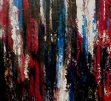 Dark Abstract Painting Magenta, Champagne, Blues and Black OPERETTA by hollyanderson