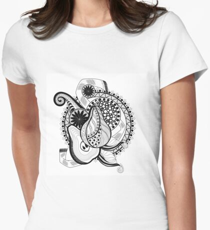 composition with pomegranate and flowers in black and white Womens Fitted T-Shirt