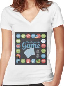 Corporate Game with humorous milestones. Women's Fitted V-Neck T-Shirt