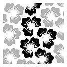 Black Grey Flower Petals Design Pillow by red addiction