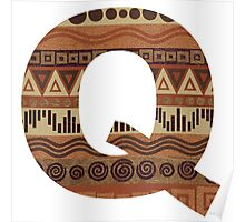 Letter Q Leather Look Pattern Tribal Ethnic Monogram Initial Poster