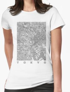 Tokyo Map Line Womens Fitted T-Shirt