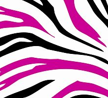 Pink Black Zebra Stripe Pattern Pillow by red addiction