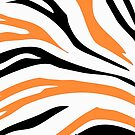 Orange Black Zebra Stripe Pattern Pillow by red addiction