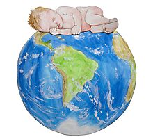 Baby on Planet Earth Photographic Print