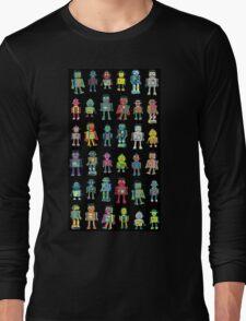 Robot Line-up on Black Long Sleeve T-Shirt