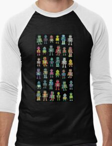 Robot Line-up on Black Men's Baseball ¾ T-Shirt
