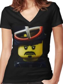 Mr. Kendo Fighter Women's Fitted V-Neck T-Shirt