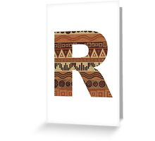 Letter R Leather Look Pattern Tribal Ethnic Monogram Initial Greeting Card