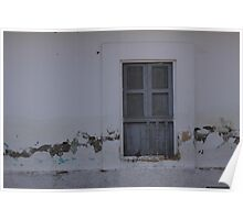 Gray Window With a Shutter Poster