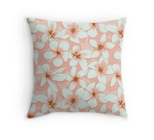 Seamless Pattern with Pink Flowers Throw Pillow