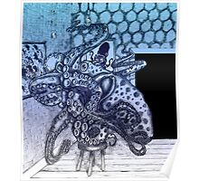 A Blue Octopus Changing a Bulb Poster