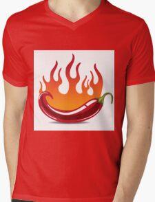 Flaming hot pepper Mens V-Neck T-Shirt