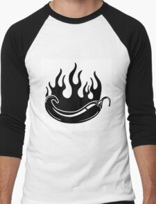 Flaming hot pepper in black and white Men's Baseball ¾ T-Shirt