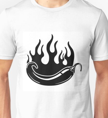 Flaming hot pepper in black and white Unisex T-Shirt
