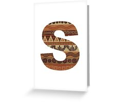 Letter S Leather Look Pattern Tribal Ethnic Monogram Initial Greeting Card