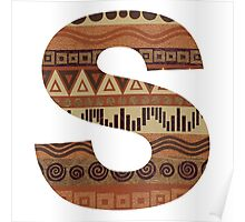 Letter S Leather Look Pattern Tribal Ethnic Monogram Initial Poster
