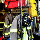 Uniforms Inside Firehouse by Susan Savad