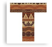 Letter T Leather Look Pattern Tribal Ethnic Monogram Initial Canvas Print