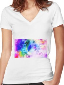 Purple Haze Quote Women's Fitted V-Neck T-Shirt