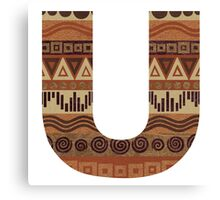 Letter U Leather Look Pattern Tribal Ethnic Monogram Initial Canvas Print
