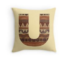 Letter U Leather Look Pattern Tribal Ethnic Monogram Initial Throw Pillow