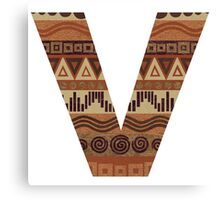 Letter V Leather Look Pattern Tribal Ethnic Monogram Initial Canvas Print