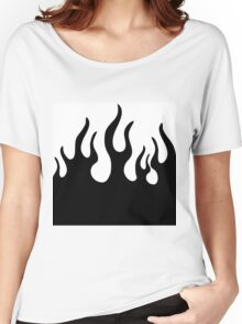 Black and white flames Women's Relaxed Fit T-Shirt