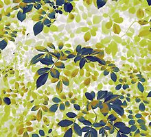 Foliage Hues - Green Blue And White by Shawna Rowe