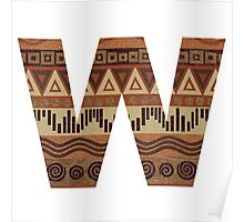 Letter W Leather Look Pattern Tribal Ethnic Monogram Initial Poster