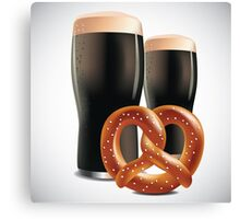 Beer and pretzels Canvas Print