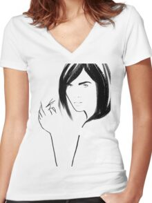 La Femme 03 Women's Fitted V-Neck T-Shirt