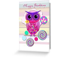 Cute Candy Owl with Birthday text card Greeting Card
