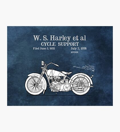 Motor Cycle Harley Patent Art Photographic Print