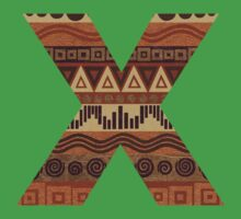 Letter X Leather Look Pattern Tribal Ethnic Monogram Initial Baby Tee