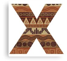 Letter X Leather Look Pattern Tribal Ethnic Monogram Initial Canvas Print