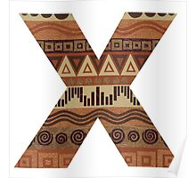 Letter X Leather Look Pattern Tribal Ethnic Monogram Initial Poster
