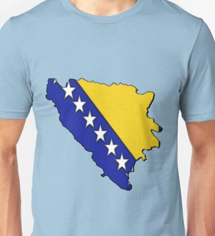Bosnia and Herzegovina Map With Bosnian Flag Unisex T-Shirt