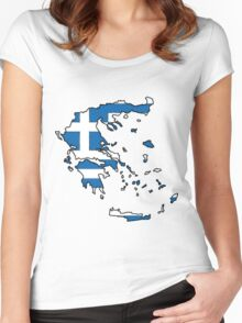 Greece Map With Greek Flag Women's Fitted Scoop T-Shirt