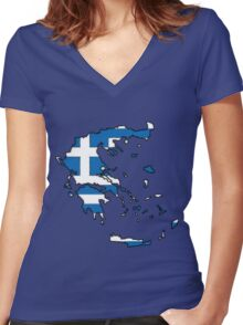 Greece Map With Greek Flag Women's Fitted V-Neck T-Shirt