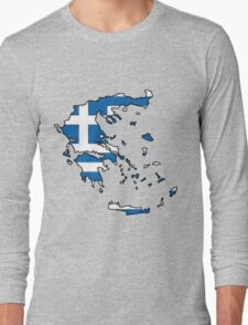 Greece Map With Greek Flag Long Sleeve T-Shirt