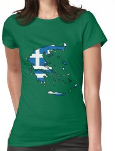 Greece Map With Greek Flag Womens Fitted T-Shirt