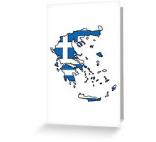 Greece Map With Greek Flag Greeting Card