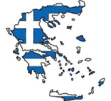 Greece Map With Greek Flag Photographic Print