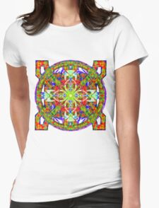 Glowing Cross Lain Over Celestial Fantasy Womens Fitted T-Shirt
