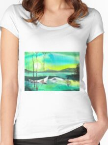 White Boat Women's Fitted Scoop T-Shirt