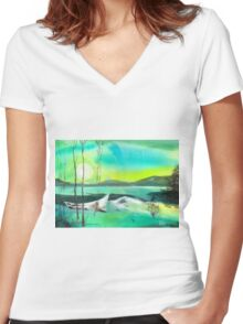 White Boat Women's Fitted V-Neck T-Shirt