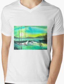 White Boat Mens V-Neck T-Shirt