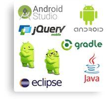 android programming lenguage sticker set Metal Print